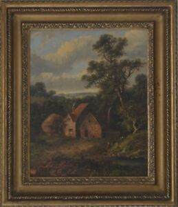 19th-Century-English-School-Oil-on-Board-Figures-in-a-landscape-indist-signed