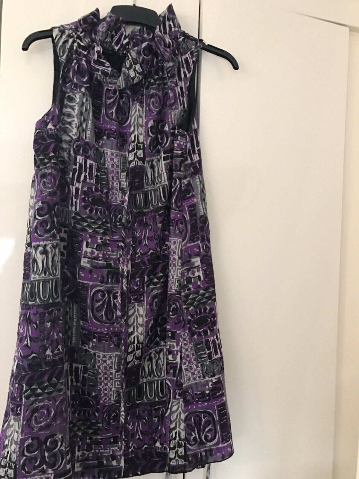Anna Sui dress lila  schwarz High Neck Knee Length Größe Small 10 - 12
