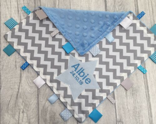 Taggy Blanket 30 Cm Square Personalised Large Baby Blue And Grey Chevron Taggy