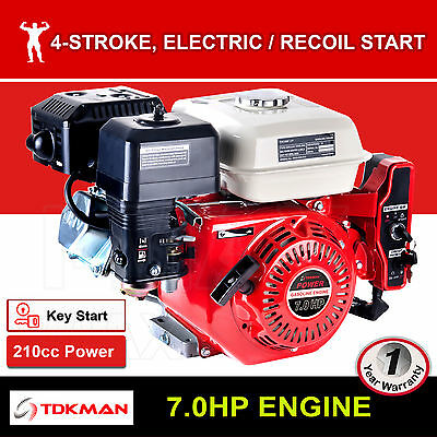 7HP Petrol Engine OHV Stationary Motor Horizontal Shaft Electric Start Recoil