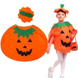 165b744a1b3 Details about Funny Pumpkin Costume Fancy Dress Halloween Party Kids  Children Unisex Suit OO
