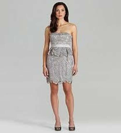 ADRIANNA PAPELL STRAPLESS PEPLUM LACE DRESS - SIZE US 8 - NWT  MSRP