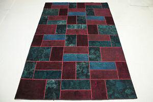 Vintage-Patchwork-Orient-Tapis-rouge-bleu-moderne-310x200-a-la-mode-Used-Look