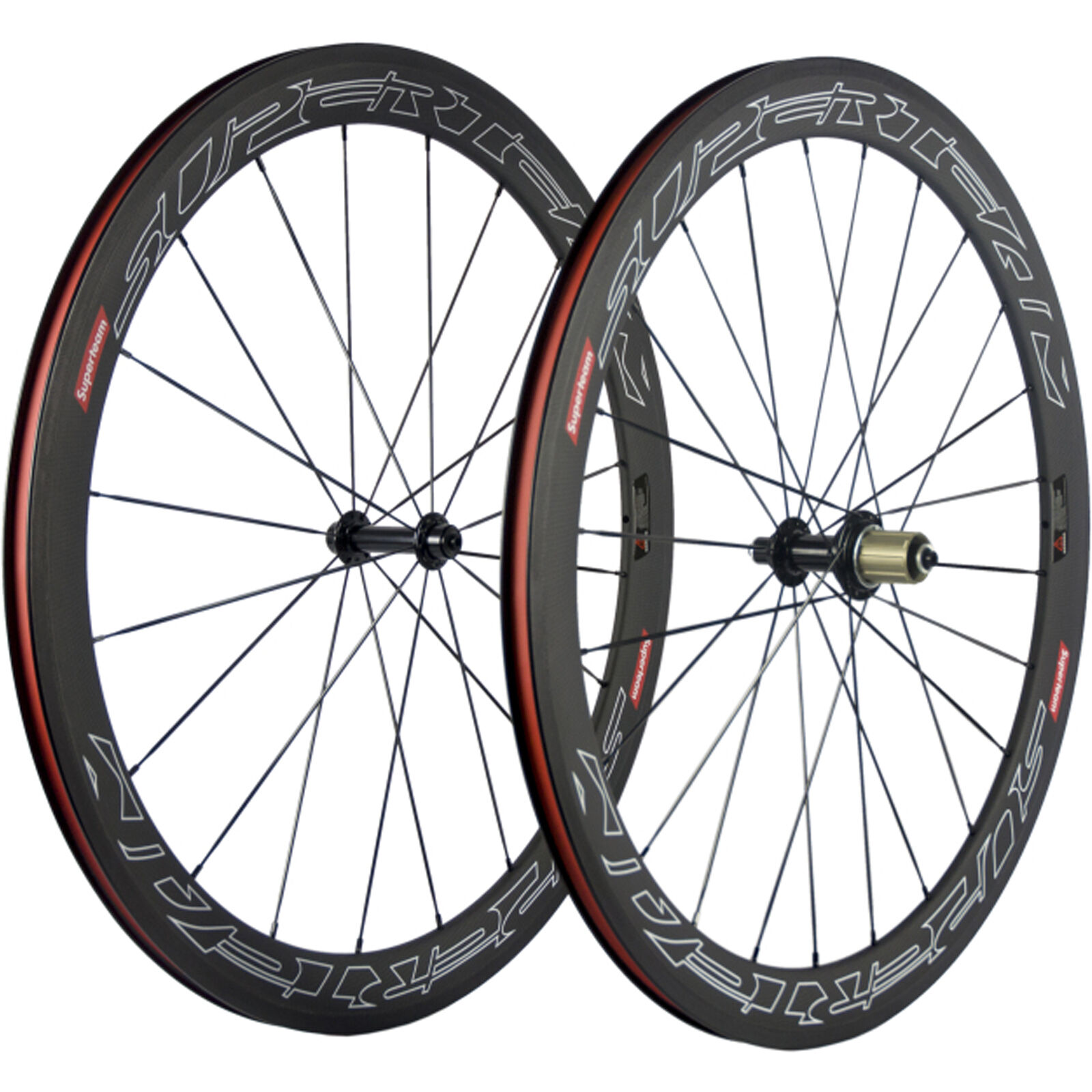 SUPERTEAM 50mm  Road Bike Clincher Carbon Wheels Bicycle Touring Carbon Wheelset  factory direct