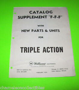 TRIPLE-ACTION-By-WILLIAMS-ORIGINAL-PINBALL-MACHINE-PARTS-CATALOG-SUPPLEMENT-ONLY