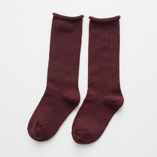 UK Kids Baby Girls Boys Toddler Cotton Knee Warm High Socks Solid Long Stocking
