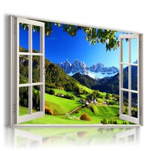 ALPS VILLAGE MOUNTAINS 3D Window Perfect Canvas Wall Art Picture W500 MATAGA