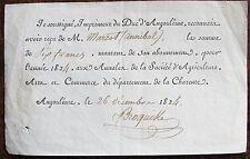 CHARENTE. IMPRIMEUR DU DUC D'ANGOULEME. Reconnaissance de dette. 1824
