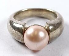 Massiver Ring, Silber -925- mir Rosa Perle d-10mm, 13,9 gr    (258/5179)