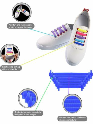No Tie Shoelaces Elastic Shoe Laces Silicone Rubber For Kids Adults Sneakers