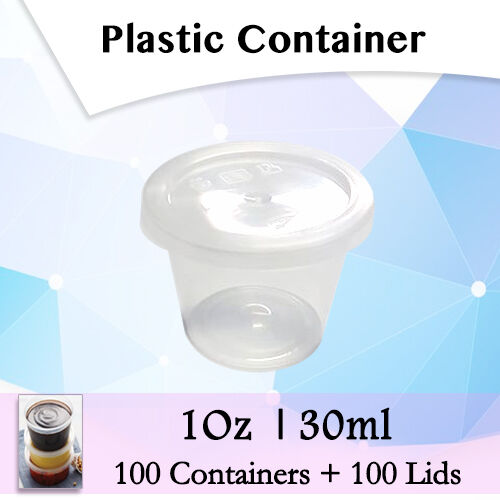 Take Away Containers Round Sauce 200 Pcs 100 Containers + 100 Lids 1Oz 30ml