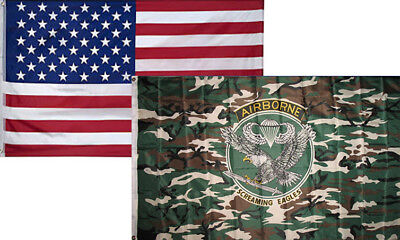 3x5 Wholesale Combo Usa American & Airborne Camo Camouflage Flag 3'x5' (2 Pack)