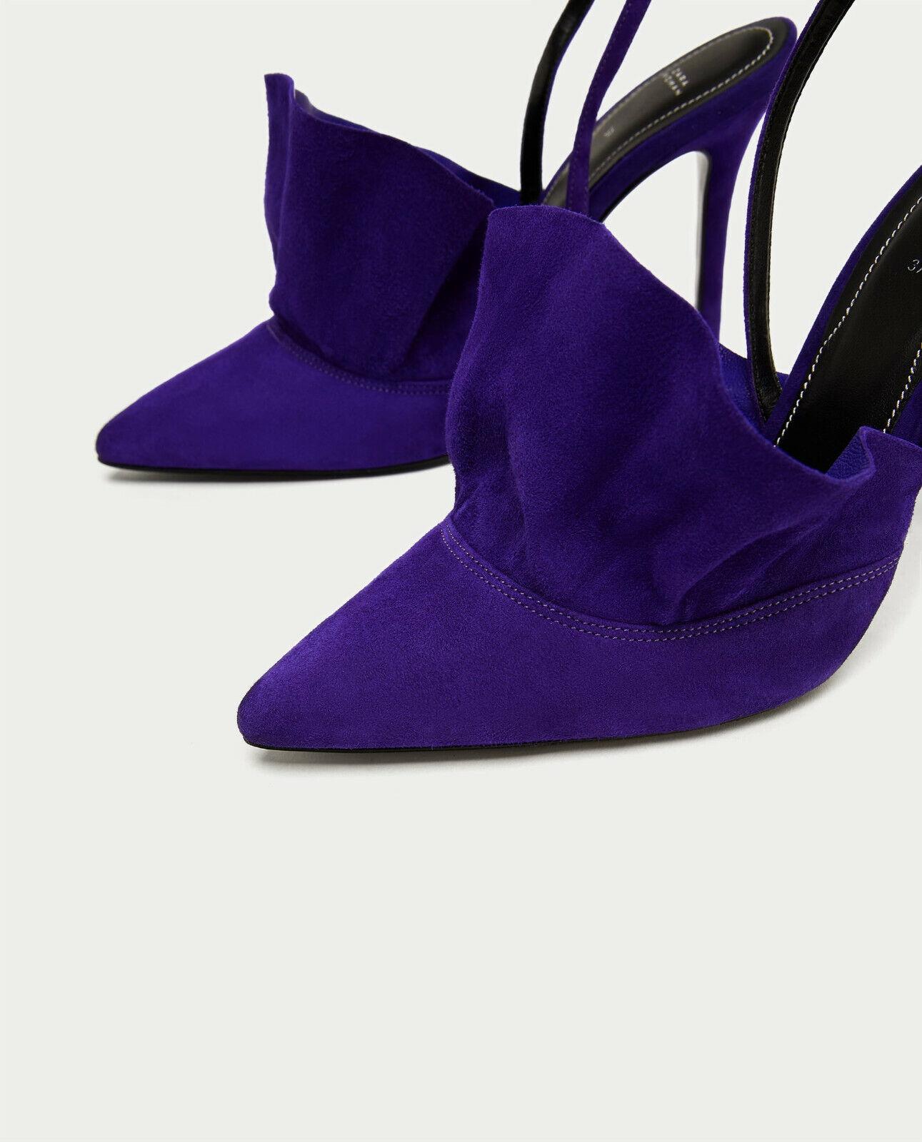 ZARA Ruffled Leather High Heel Heel Heel schuhe lila US 11 EU 42 UK 9 3847cc