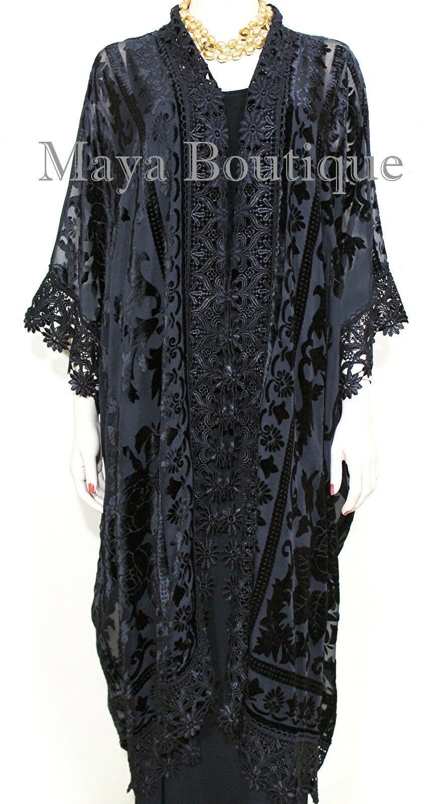 Lace & Burnout Velvet Kimono Caftan Jacket Duster Black Maya Matazaro Plus