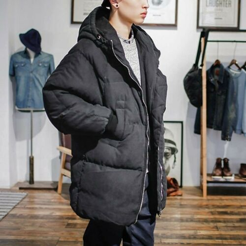 Mens Hooded Long Quilted Jacket Padded Puffer Bubble Parka Winter Warm Coat Tops