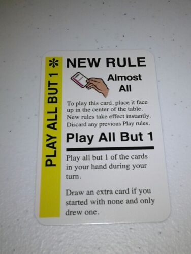 Play All But 1 Promo Card for use in any Fluxx game