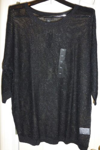 3//4 Sleeve ATTENTION Various Women/'s Black Metallic Mesh Sweater Top NWT