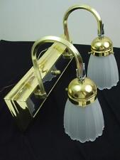 Bathroom Vanity Wall Light Fixture Brass Silver Metal 2 Tulip Frosted Shades