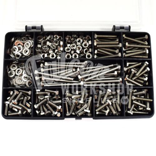A2 M4 entièrement fileté boulons écrous rondelles vis inoxydable kit Assortiment de 475 pièces