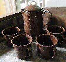 Graniteware Enamelware Brown Speckled Coffee Pot & 4 Cups Set Cabin Camping