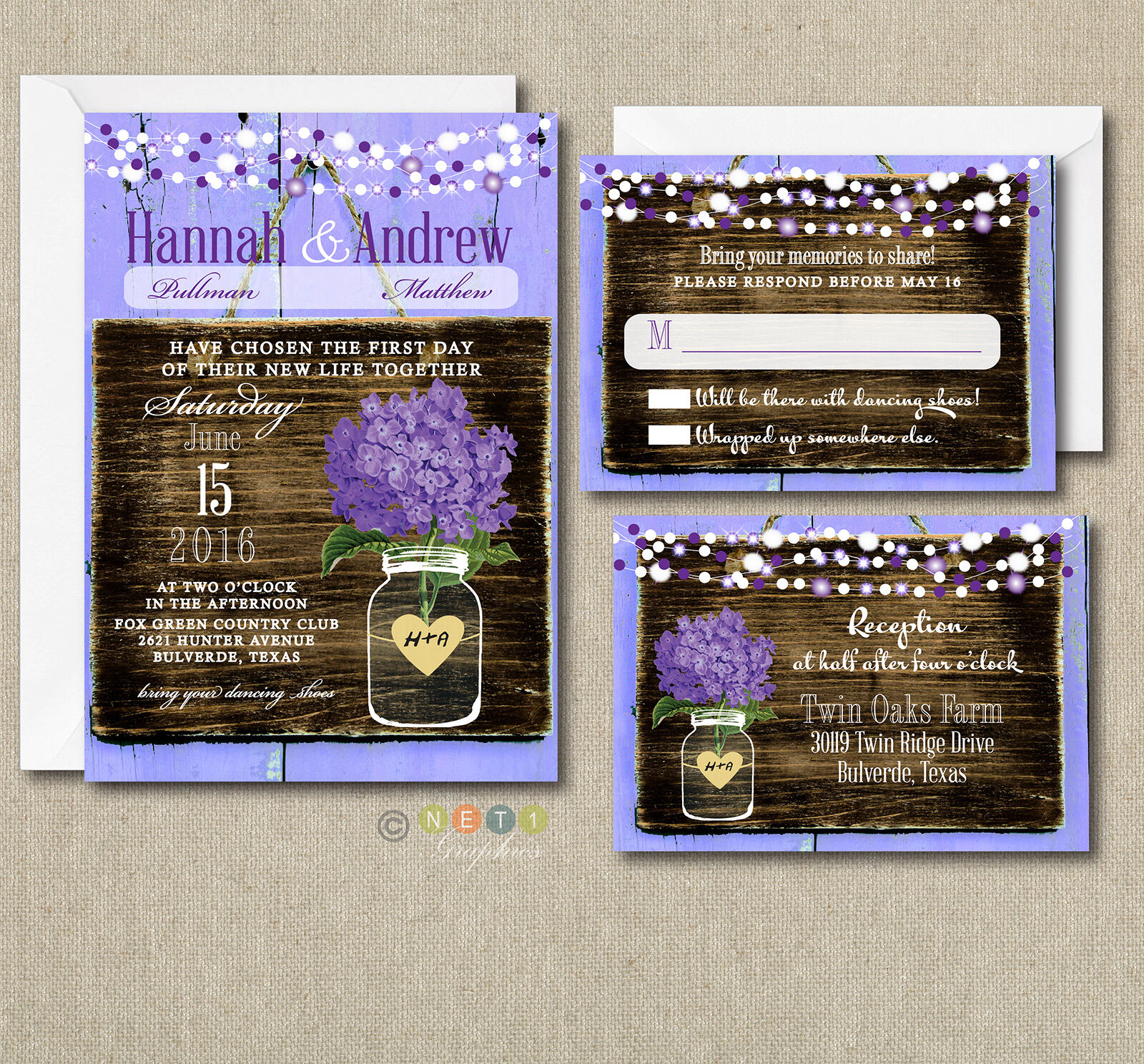 100 Wedding invitations Suite violet Hydrangea Rustic Style with Envelopes