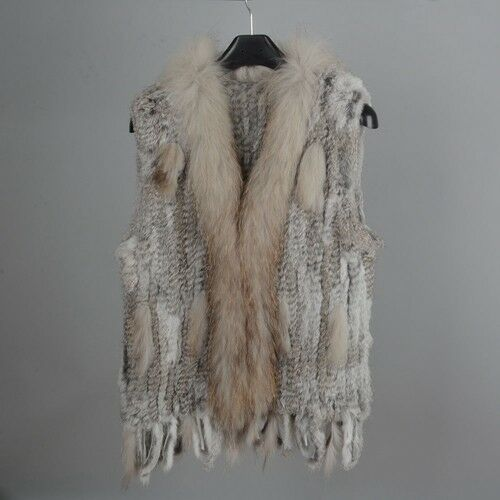 Lady Real Rabbit Knitted Fur Vest Raccoon Fur Collar Fashion Gilet Classic 61700