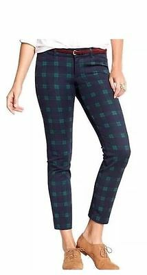 OLD NAVY WOMENS PIXIE MIDRISE ANKLE BLUE//GRN PLAID PANTS HOL14 SOLDOUT S//525427