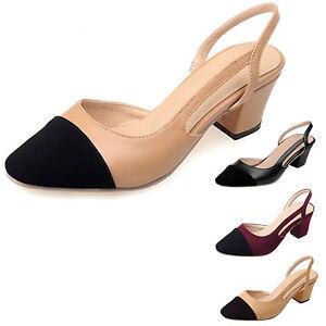 Womens-Cap-toe-Sandals-Office-Summer-Pumps-slingback-Block-shoes-Size-5-6-7-8-9