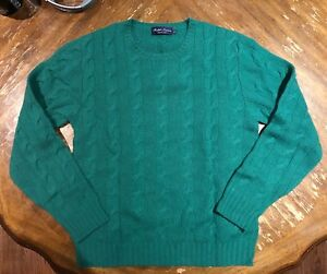 Ralph Lauren Purple Label Cable Knit Cashmere  Sweater Teal Italy Retails $1000
