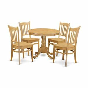 Enjoyable Details About East West Furniture Angr5 Oak W 5 Piece Kitchen Table And 4 Chairs Small Set Beutiful Home Inspiration Ommitmahrainfo