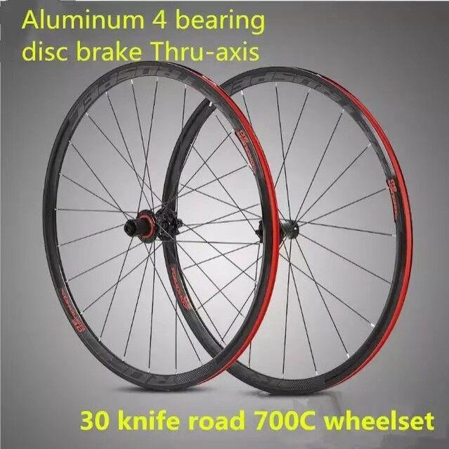 Pro Allloy Road Bike 700C 4sealed bearing disc brake Thru-axis Wheelset 30mm Rim