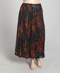 Missy Le Mieux Casual Floral Bird Print Chiffon Skirt Ankle Length Plus