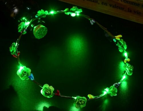 Blumen-Stirnband LED leuchten Haar Kranz Girlanden für Hochzeit Party VNC #SK