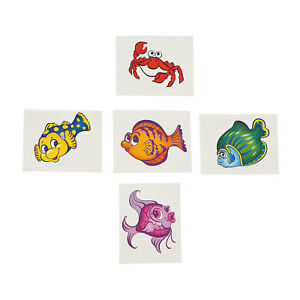 Fish Tattoos  Tropical Angel fishes Crab Temporary Tattoo Pack of 36 Free Post