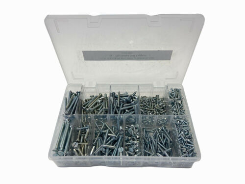 Assorted Slotted Pan /& Countersunk Self Tappers Zinc Plated 4g 10g 1300 Pieces