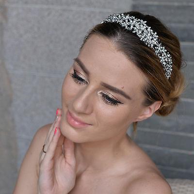 Bridal Small Flower Hair Head Band Tiara Rhinestone Crystal Clear Floral