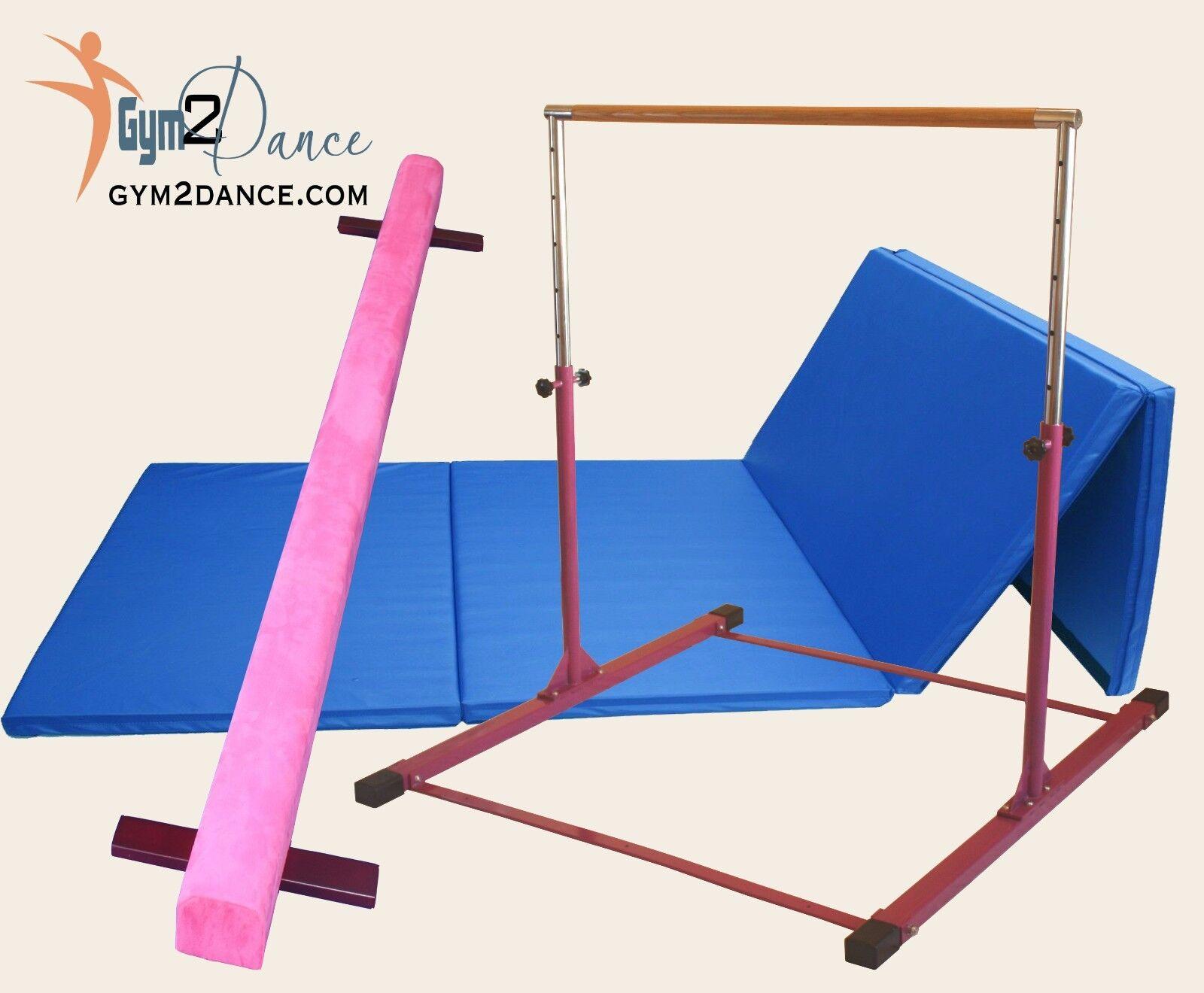 Combo Gymnastics Beam 8' +10' blueee Mat +Adjustable Gymnastics  bar by Gym 2 Dance  online retailers