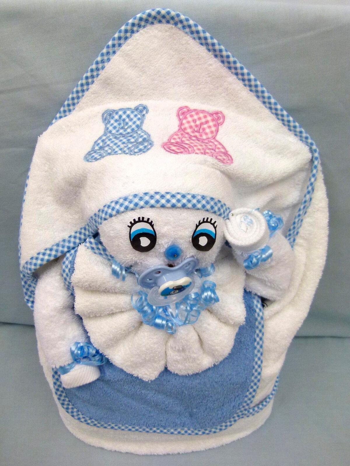 Handtuch Geschenk Figur Baby Schnuller Kapuze Gastgeschenk Taufe Babyparty Oster