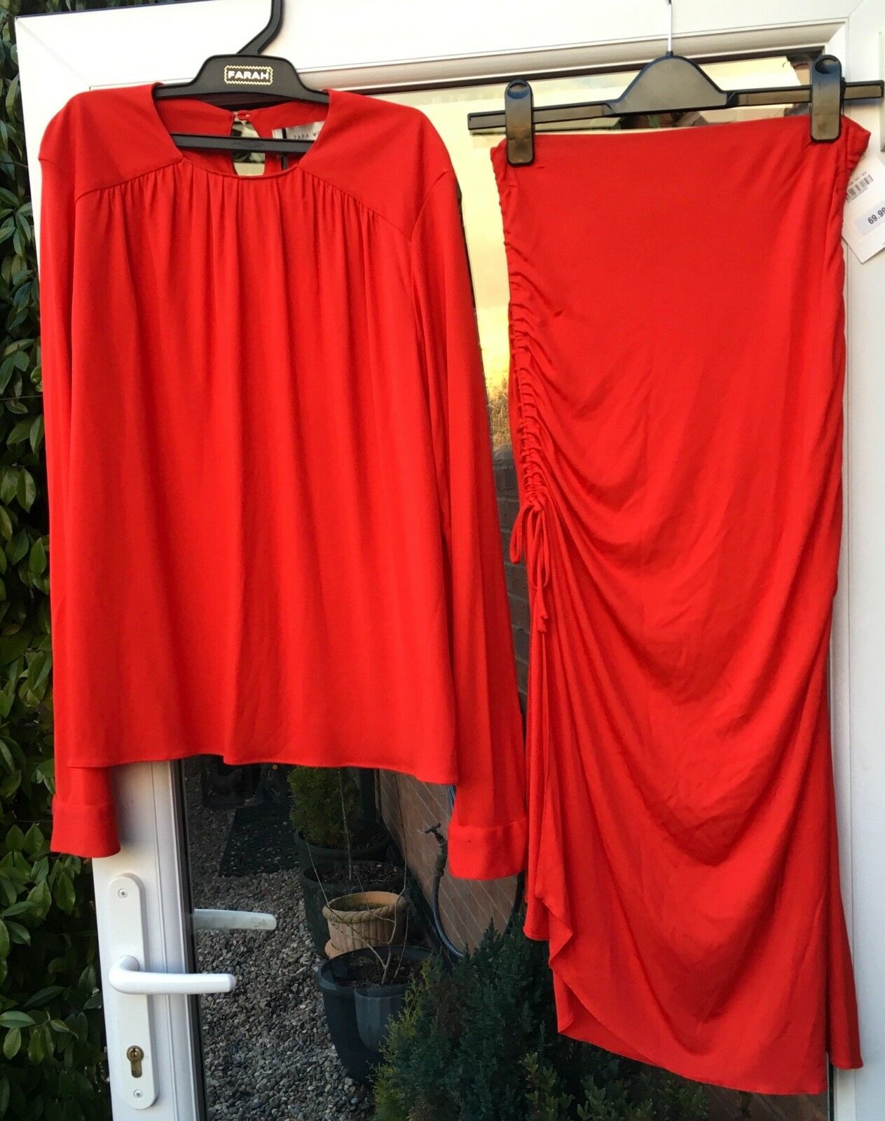BNWT ZARA STUDIO RED SKIRT & TOP WITH GATHERED DETAIL SIZE M BLOGGERS RRP