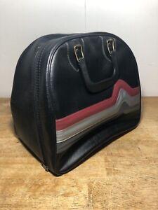 Vintage-Brunswick-Black-Leather-Retro-Rockabilly-Bowling-Bag-Case-w-Metal-Rack