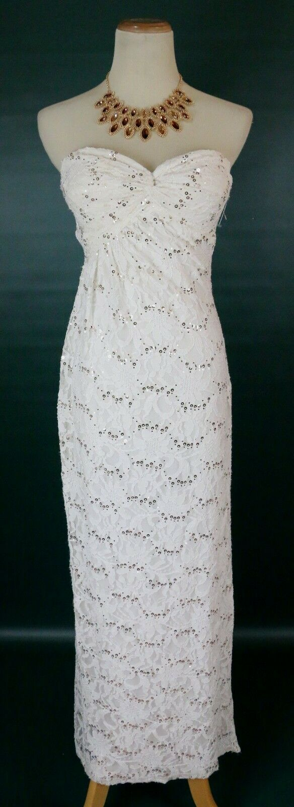 Morgan & Co  Evening Prom Formal Cruise Long Evening Gown Dress size 3 Ivory