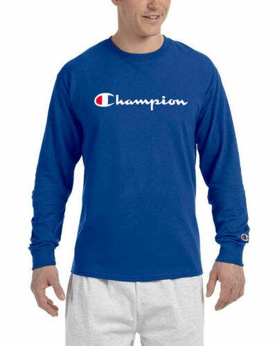Champion Mens Classic Script Logo Long Sleeve T Shirt Tee 5 Colors New M-2XL