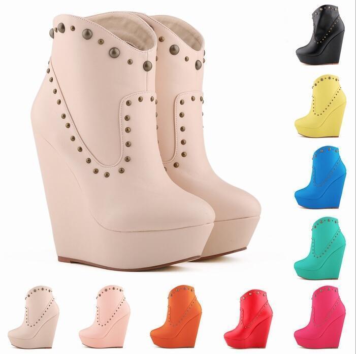 Women Platform Wedge High Heel Rivet Punk Ankle Boots Casual shoes Nightclub