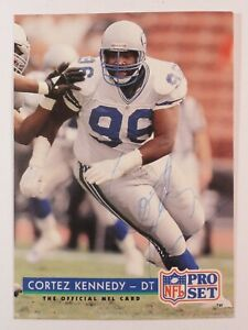 1992-NFL-PRO-SET-329-Cortez-Kennedy-Seattle-Seahawks-Autographed-Card