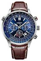Rotary Gents Chronograph Blue Dial, Brown Leather Gs00699/05 Watch - 17% Off