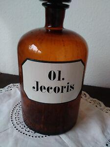 Antiquitäten & Kunst GüNstiger Verkauf Apothekerflasche;ol.jecoris;5 Ltr.;braunglas;geschl Stöpsel;loft;deco Ausgezeichnet Im Kisseneffekt