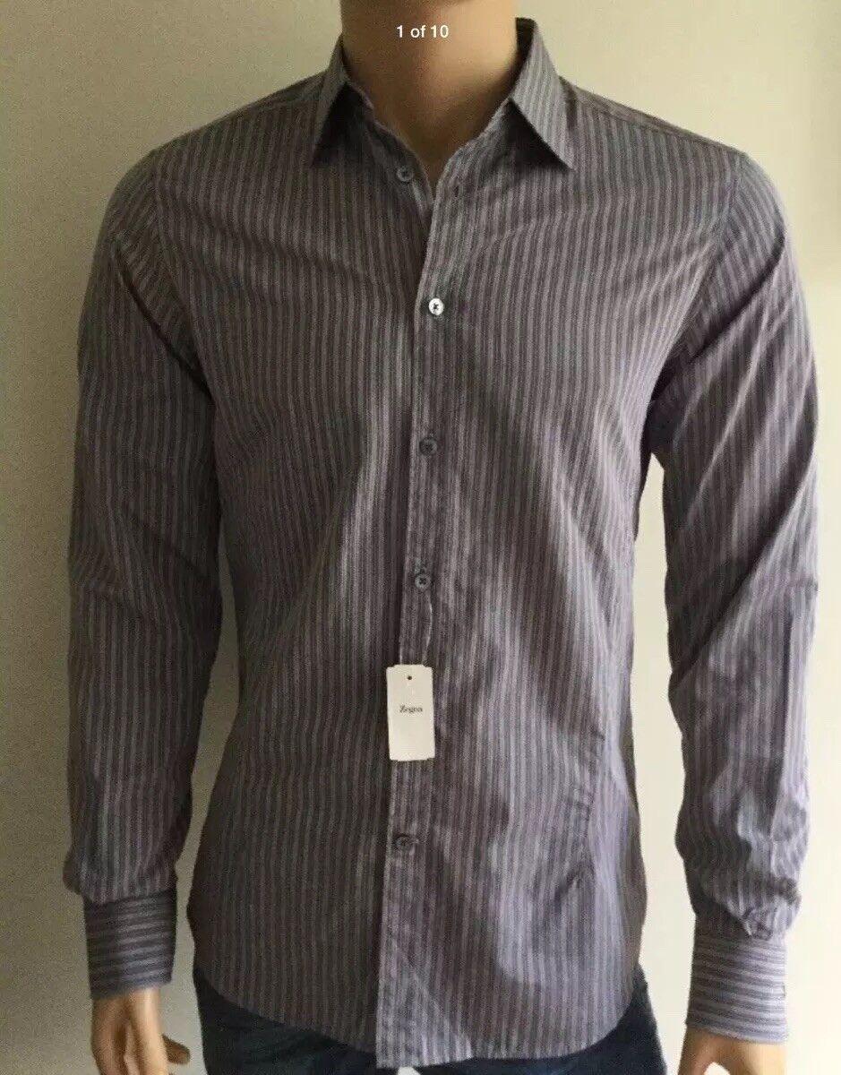 New  Z Zegna Drop 8  Button Front Casual Men's Shirt Size IT 38