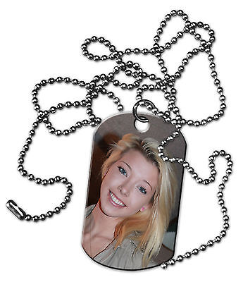 PERSONALIZED CUSTOM PHOTO DOG TAG JEWELRY TWO SIDED WITH CHAIN