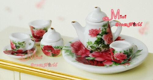 Lot of 8PCS Rose Dollhouse Miniature Porcelain Coffee Tea Cup Set