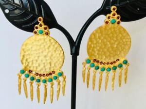 18K-Gold-Silver-Disc-Circle-Turquoise-Garnet-Gemstone-Tassel-Earrings-Hammered